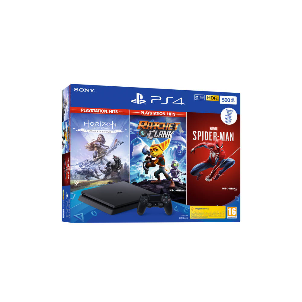 PS4 Slim 500 GB + Horizon Zero Dawn + Marvel's Spider-Man + Ratchet & Clank