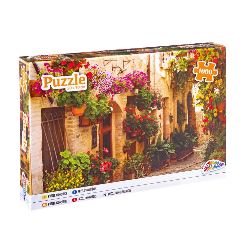 Grafix puzzel straat met bloemen - 1000 stukjes