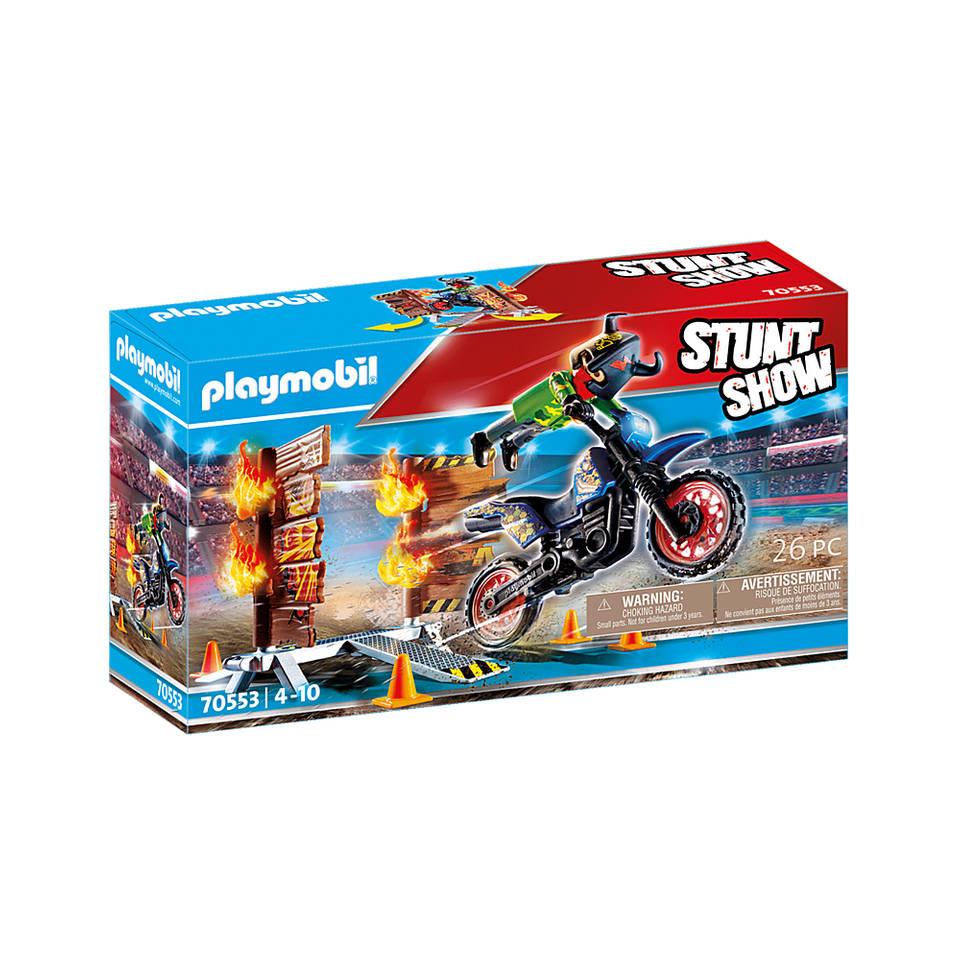 PLAYMOBIL Stuntshow motor met vuurmuur 70553