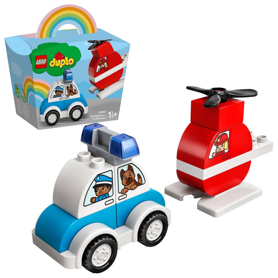 LEGO DUPLO brandweerhelikopter en politiewagen 10957