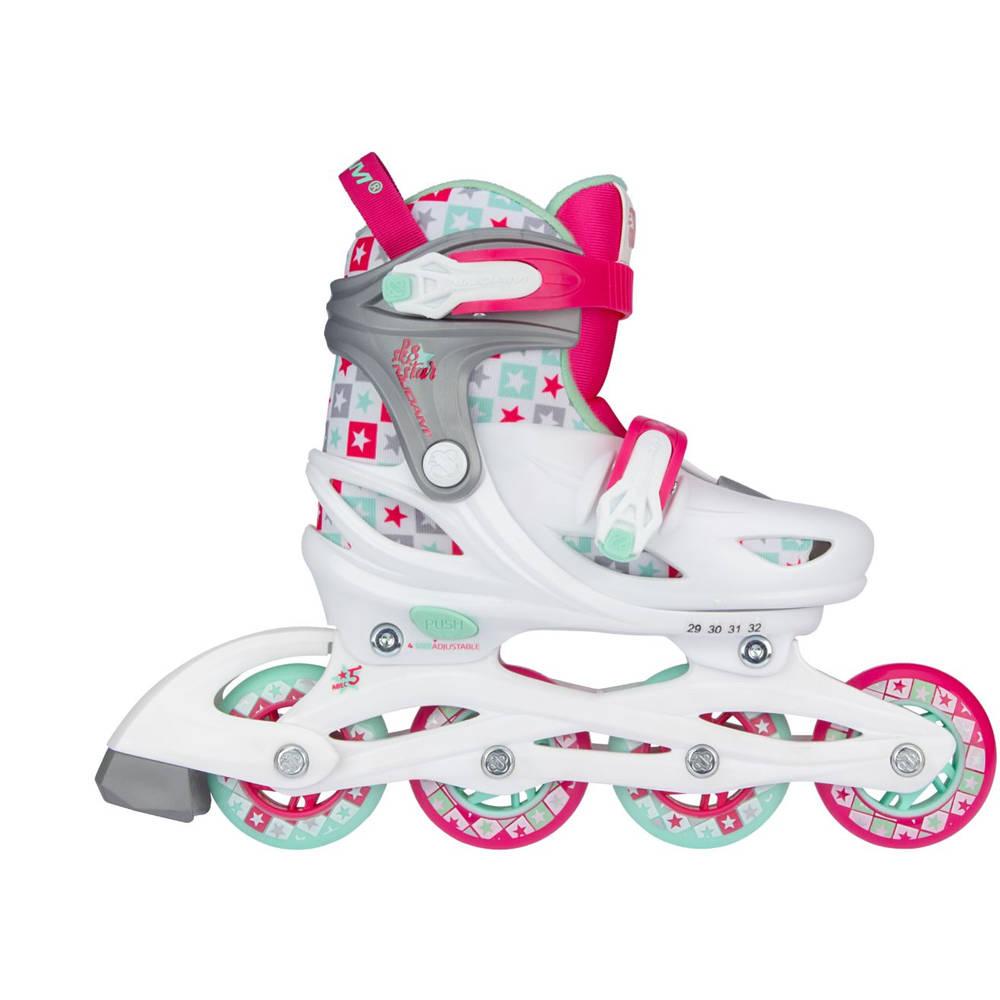 Nijdam Sk8 Star inline skates - maat 29/32 - wit/roze