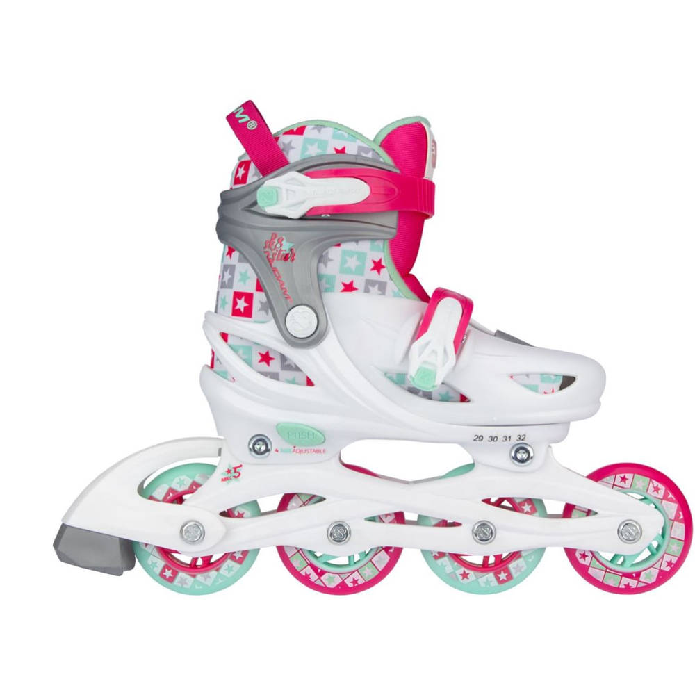 Nijdam Sk8 Star inline skates - maat 33/36 - wit/roze