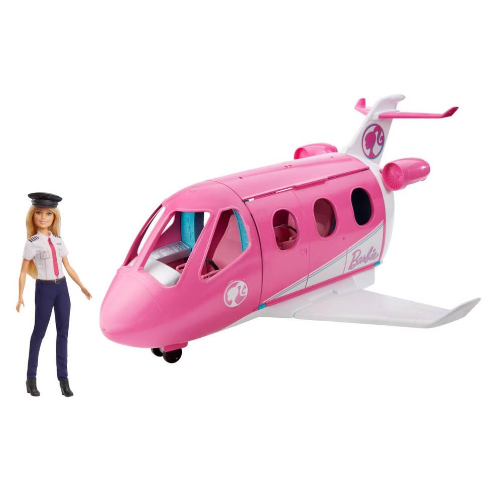 Barbie droomvliegtuig met piloot speelset