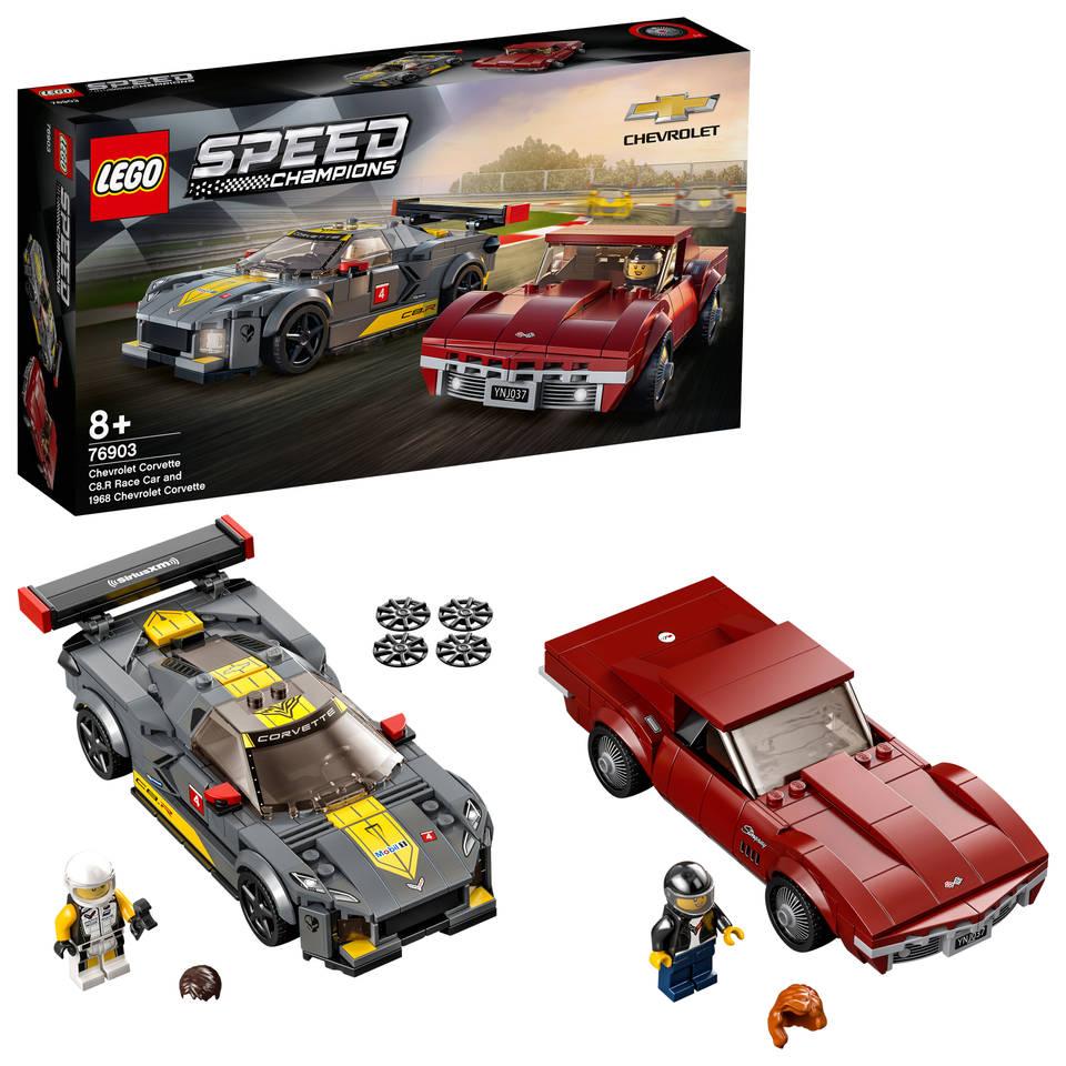 LEGO 76903 Speed Champions Chevrolet Corvette C8.R racewagen en 1968 Chevrolet Corvette raceauto's constructiespeelgoed