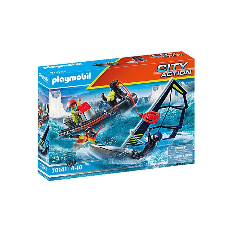 PLAYMOBIL City Action redding met poolzeiler met rubberen sleepboot 70141