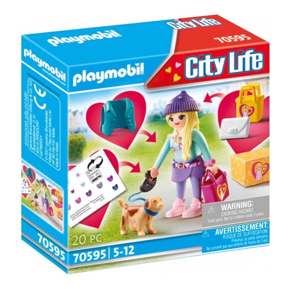 PLAYMOBIL City Life modemeisje met hond 70595