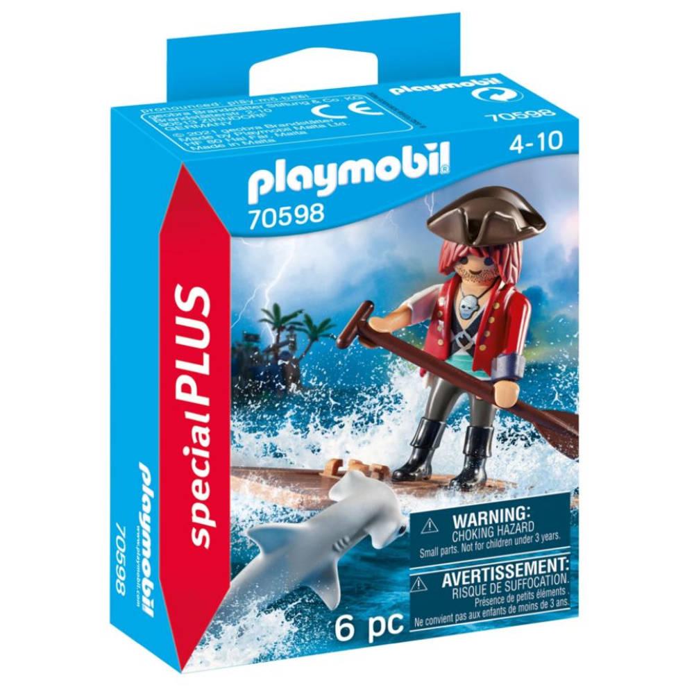 PLAYMOBIL SpecialPLUS piraat met vlot en hamerhaai 70598