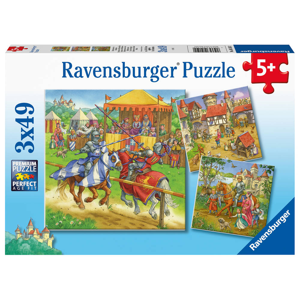 Ravensburger puzzelset Riddertoernooi in de Middeleeuwen - 3 x 49 stukjes