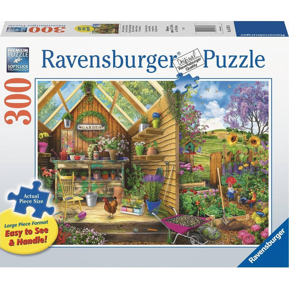 Ravensburger puzzel Blik in het tuinhuis - 300 stukjes