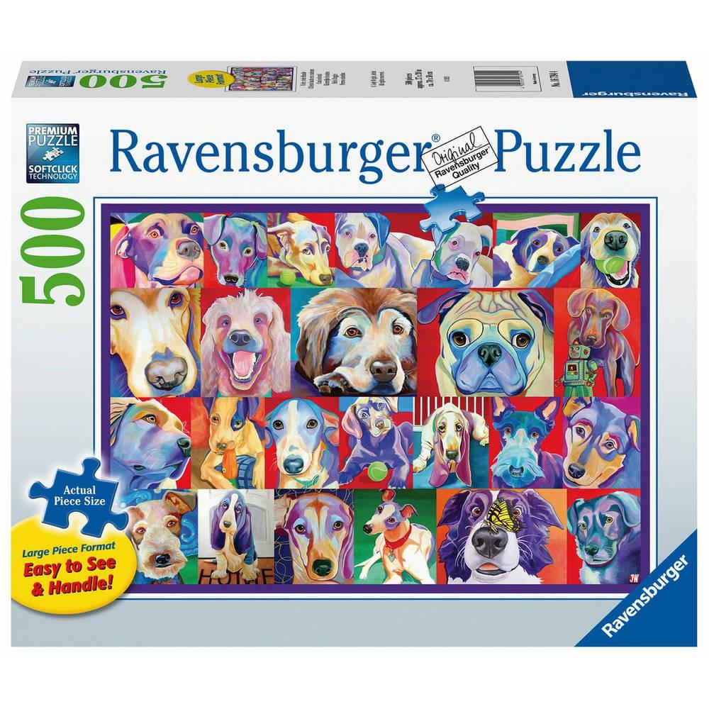 Ravensburger puzzel Kleurrijke honden - 500 stukjes