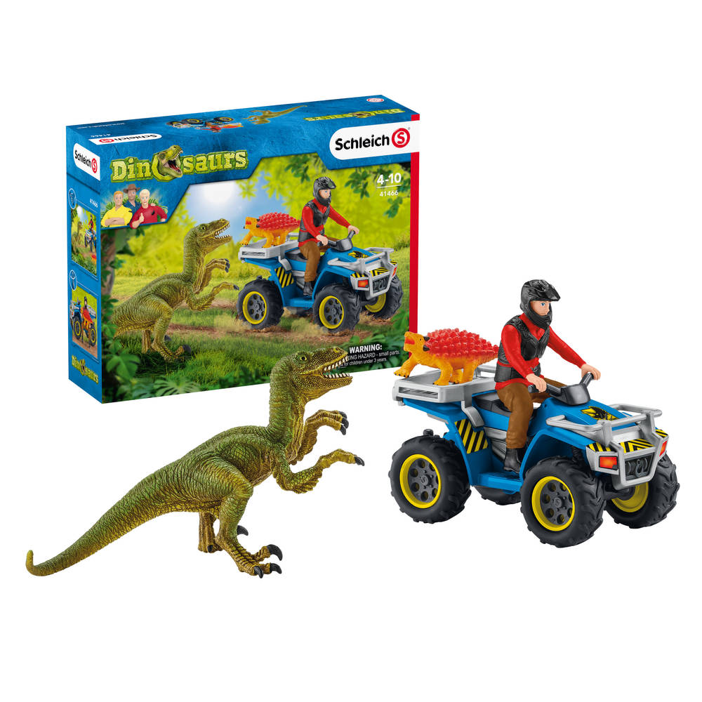 Schleich vlucht van Velociraptor op quad 41466