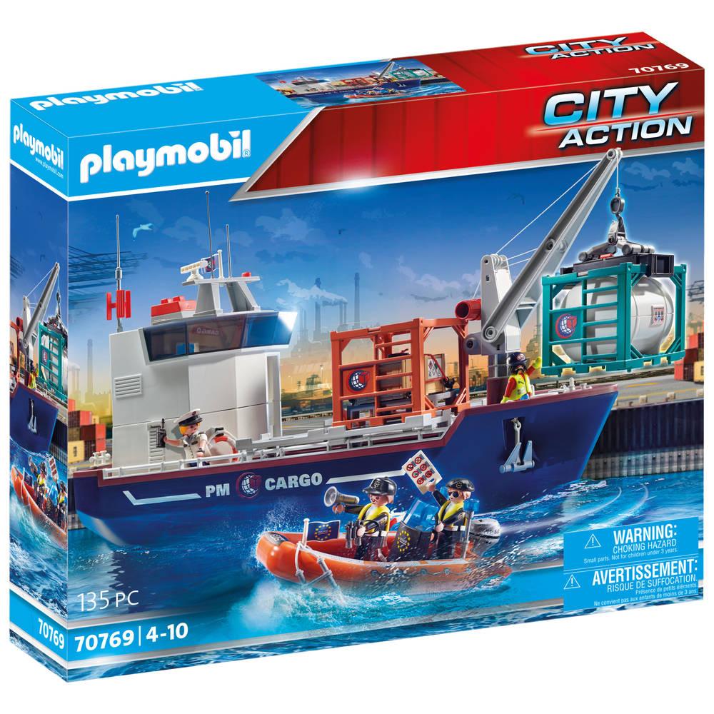 PLAYMOBIL City Action cargo groot containerschip met douaneboot 70769