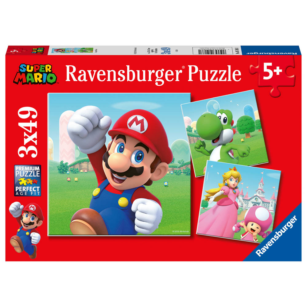 Ravensburger puzzelset Super Mario - 3 x 49 stukjes