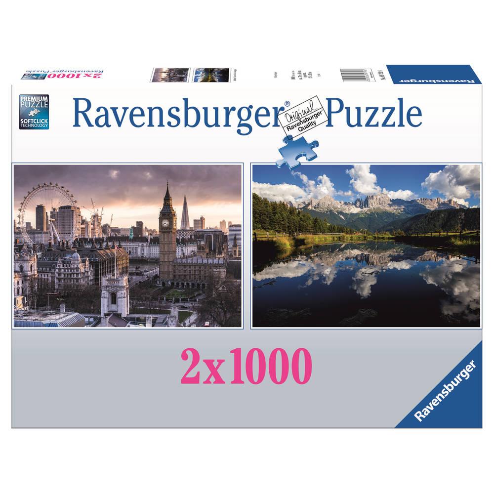 Ravensburger puzzelset Londen/Life in Mountains - 2 x 1000 stukjes