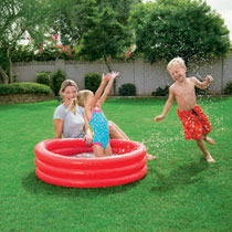 Kinderzwembad - 122 X 25 cm - rood/blauw/groen