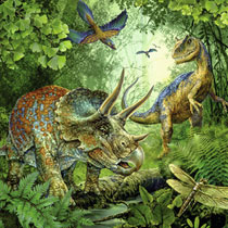 3x49 Puzzel Dinosauriers