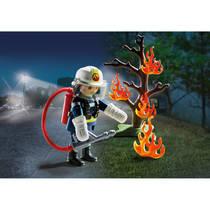 PLAYMOBIL SpecialPLUS brandweerman met brandende boom 9093