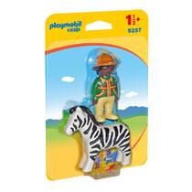 PLAYMOBIL 1.2.3 verzorger met zebra 9257