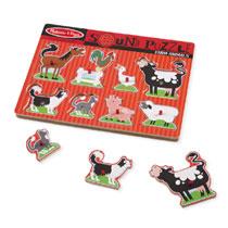 Melissa & Doug houten puzzel met geluid boerderijdieren