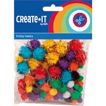 Create-it pompoms glitter 78-delig