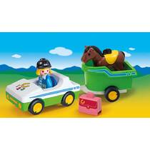PLAYMOBIL CAR WITH HORSE TRAILER 70181