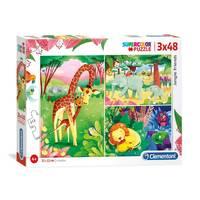 Clementoni puzzelset jungle vrienden - 3 x 48 stukjes