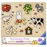 Ravensburger houten puzzel Nijntje op de boerderij - 8 stukjes