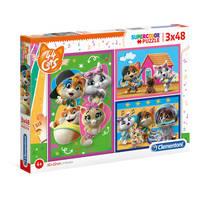 Clementoni Nickelodeon 44 Cats puzzelset - 3 x 48 stukjes