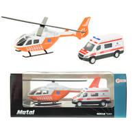 Trauma helikopter met ambulance - oranje
