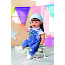BABY BORN DELUXE JEANS DUNGAREE SET 43CM