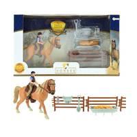 HORSES PRO BRUIN PAARD MET RUITER EN ACC