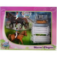 KidsGlobe speelset met 2 paarden en ruiters en accessoires