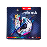Bruynzeel bewaarblik met 24 kleurpotloden - blauw