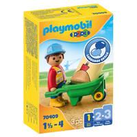 PLAYMOBIL 1.2.3 bouwvakker met kruiwagen 70409