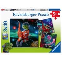 Ravensburger puzzelset Dinosauriërs in de ruimte - 3 x 49 stukjes