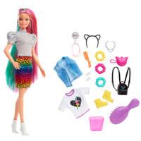 Barbie luipaard en regenbooghaar pop