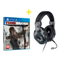 PS4 stereo gaming headset V3 camo + Tomb Raider Definitive Edition