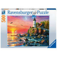 Ravensburger puzzel Vuurtoren in de avond - 500 stukjes