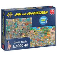 Jumbo Jan van Haasteren puzzelset De Muziekwinkel en Vakantiekriebels - 2 x 1000 stukjes